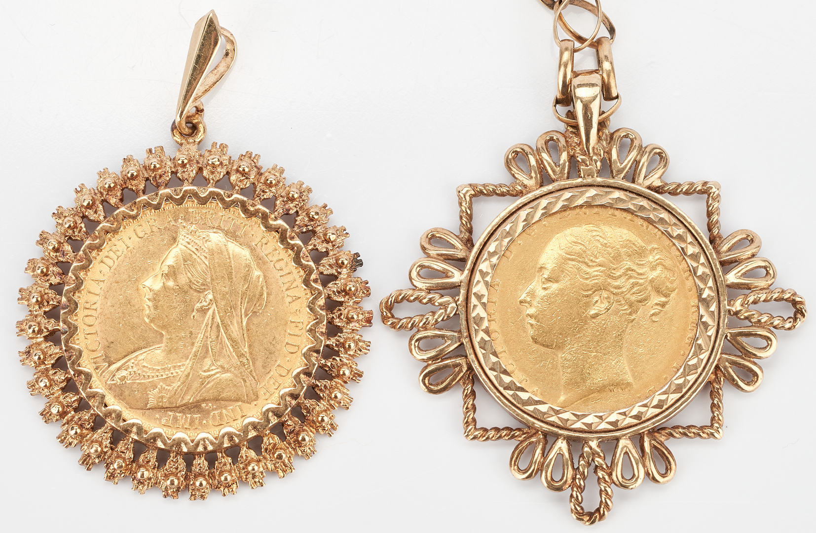 Lot 1002: 2 Yellow Gold Pendants w/ British Sovereigns