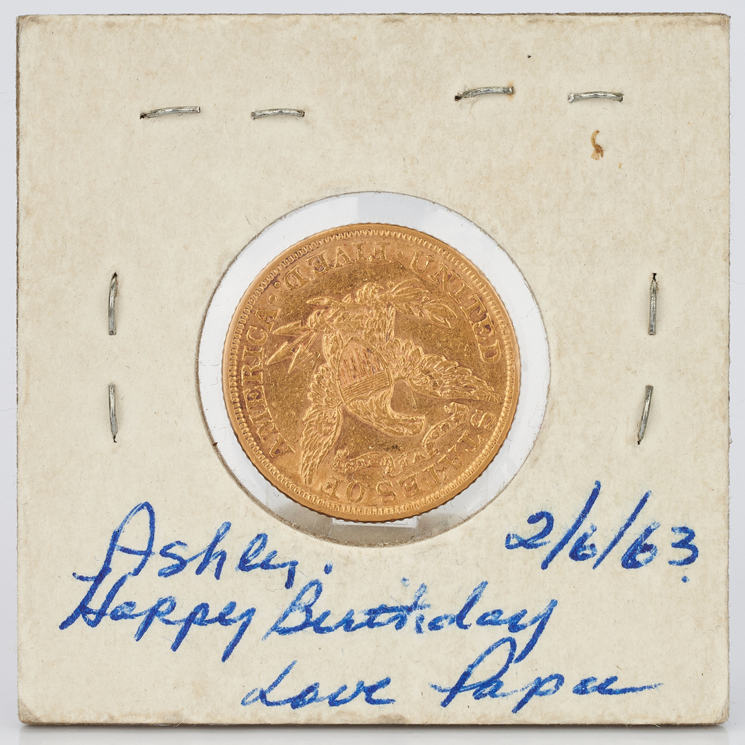 Lot 1003:  1893 $5 Liberty Gold Coin & 2 1859 Indian Head Pennies