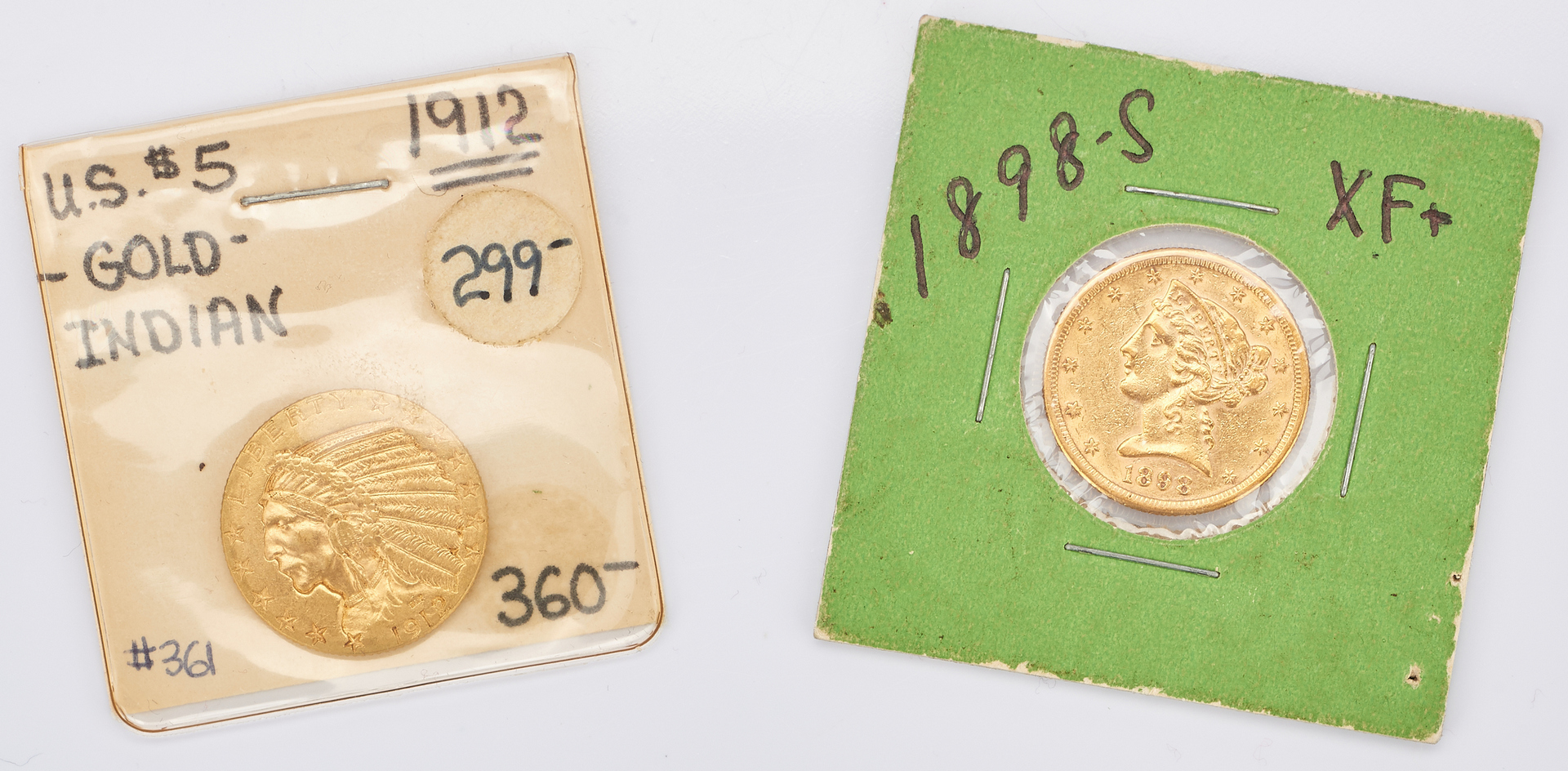 Lot 1004: 2 U.S. $5 Gold Coins