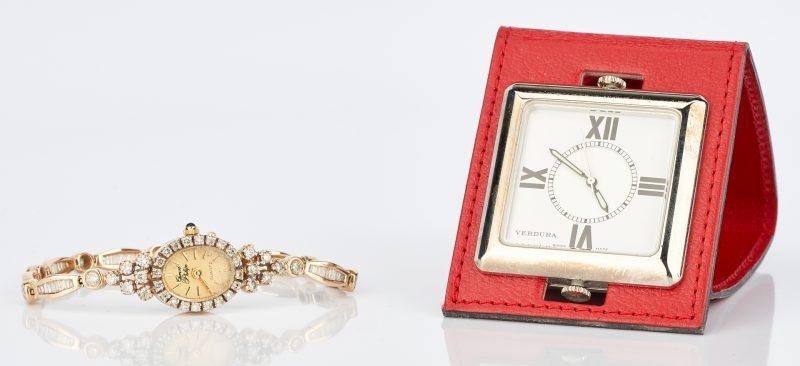 Lot 1007: 2 Watches: Gerard Phillippe 14K Watch w/ Diamonds & Verdura Pocket Watch