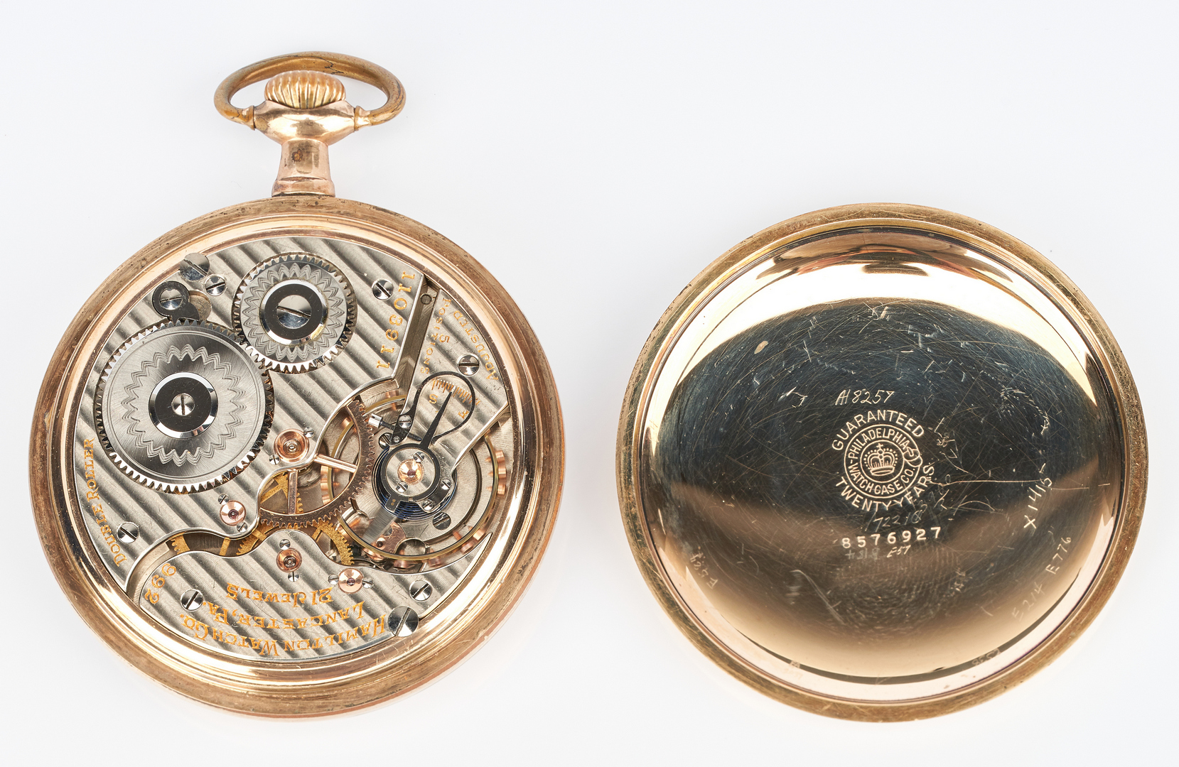 Lot 1008: 4 14K Pins & 2 Pocketwatches, incl. Railway Watch