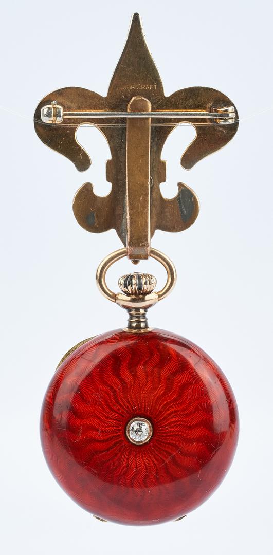 Lot 1009: Swiss 14K Guilloche Enamel Watch