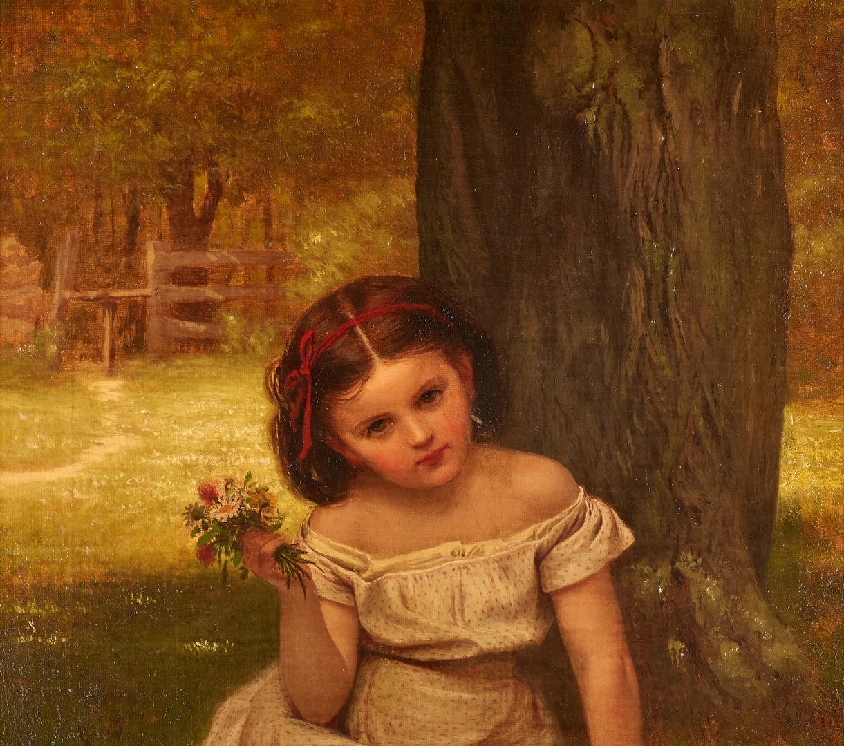 Lot 100: John G. Brown O/C, Portrait of a Young Girl