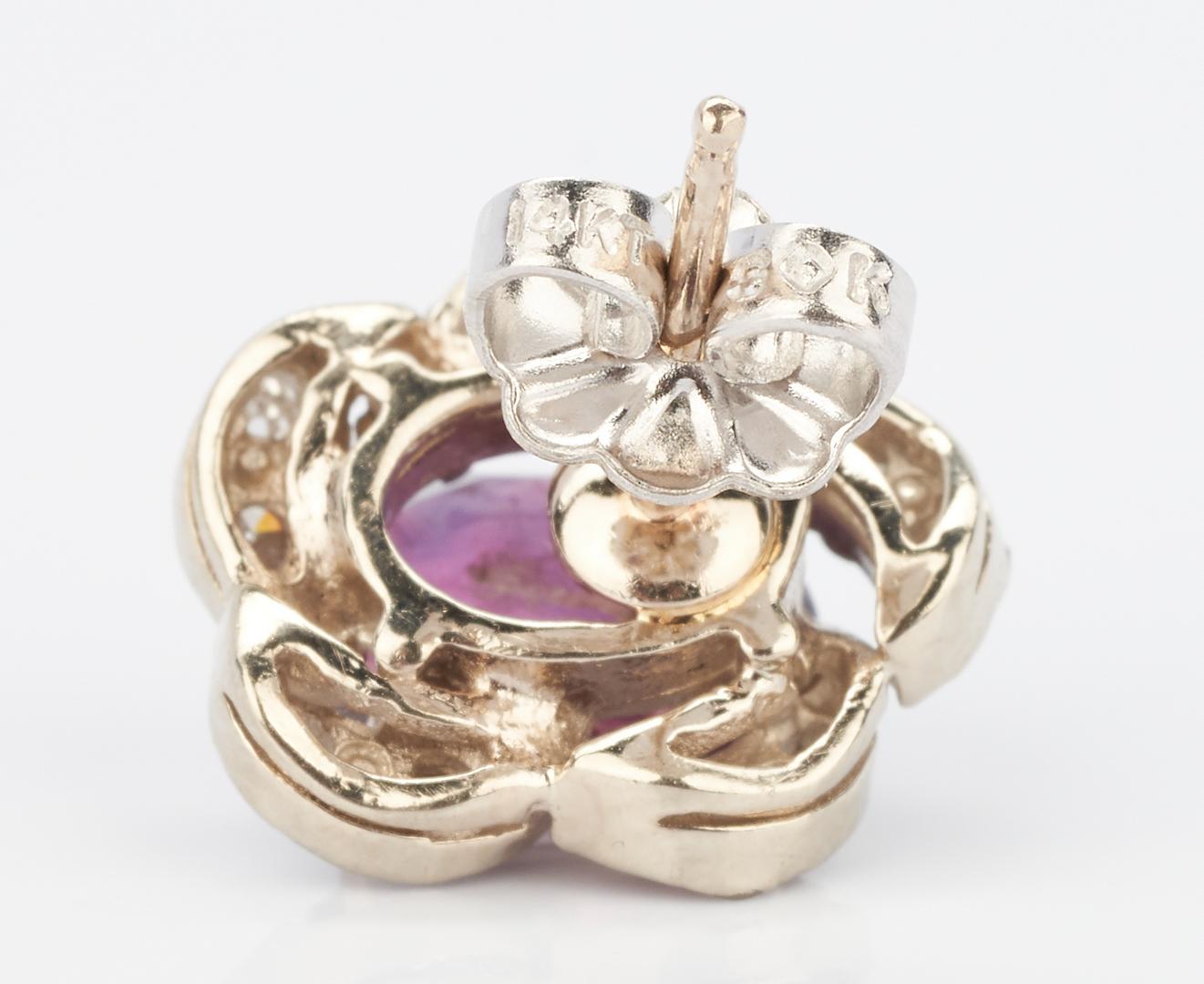 Lot 1011: 14K Ruby & Diamond Pendant, Ruby Earrings