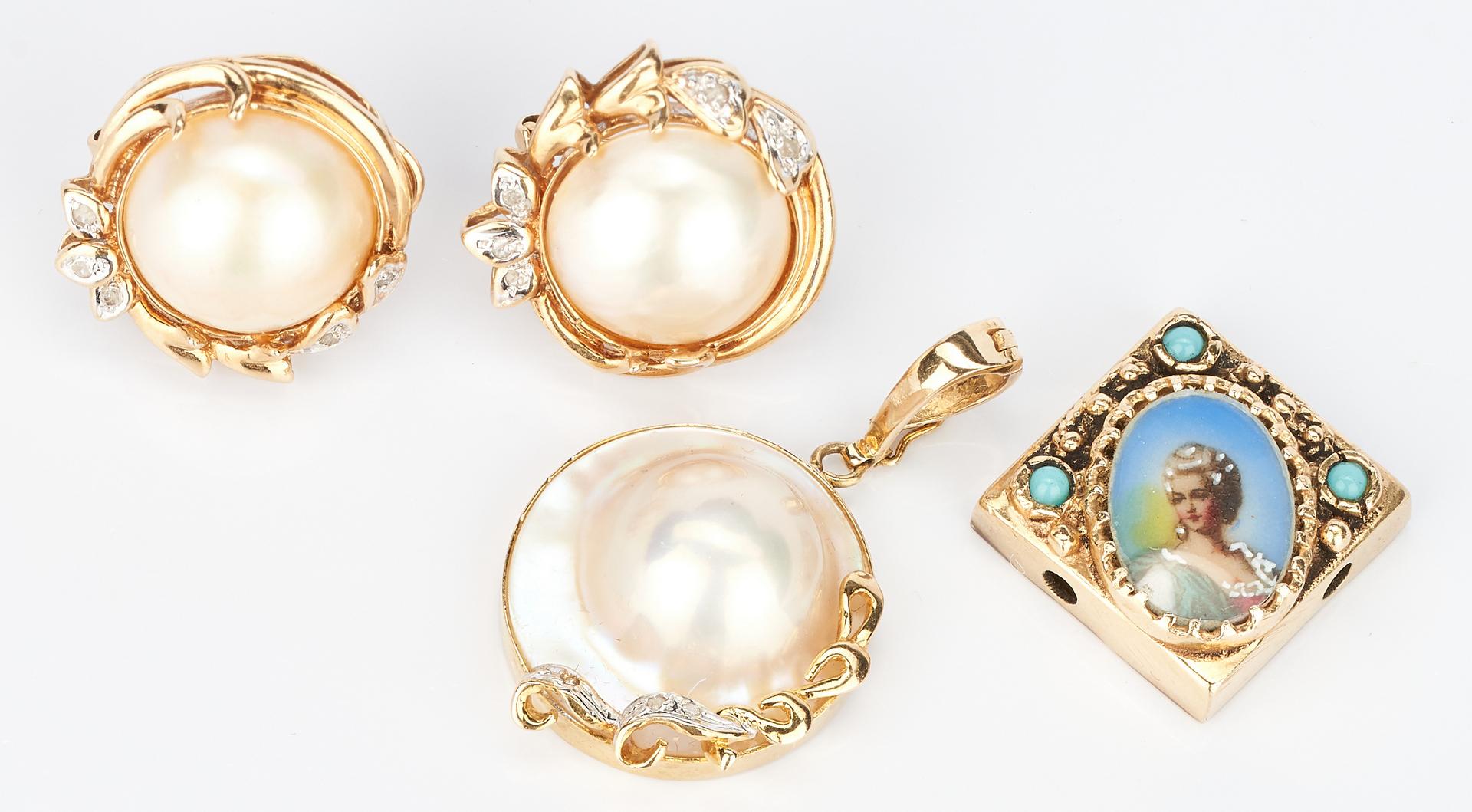 Lot 1014: 3 Gold & Gemstone Items, incl. Diamond & Pearl