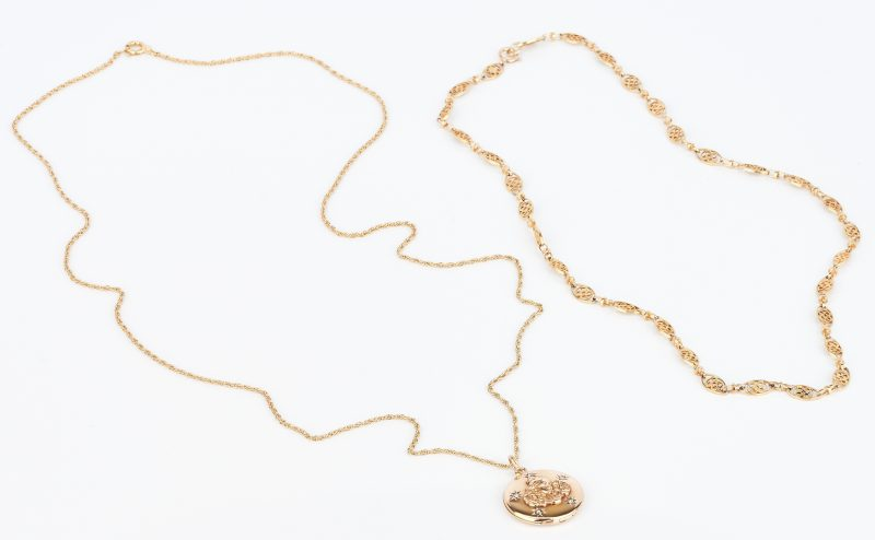 Lot 1016: 14K Gold Locket Necklace and 14K Necklace