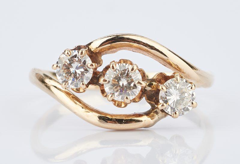 Lot 1021: Ladies 14K Yellow Gold & Diamond Ring w/ 3 Stones