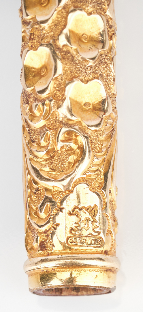 Lot 1024:  Parasol Handle w/ 10K Gold Overlay