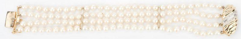 Lot 1027: Pearl Bracelet w/ 14K Diamond Clasp