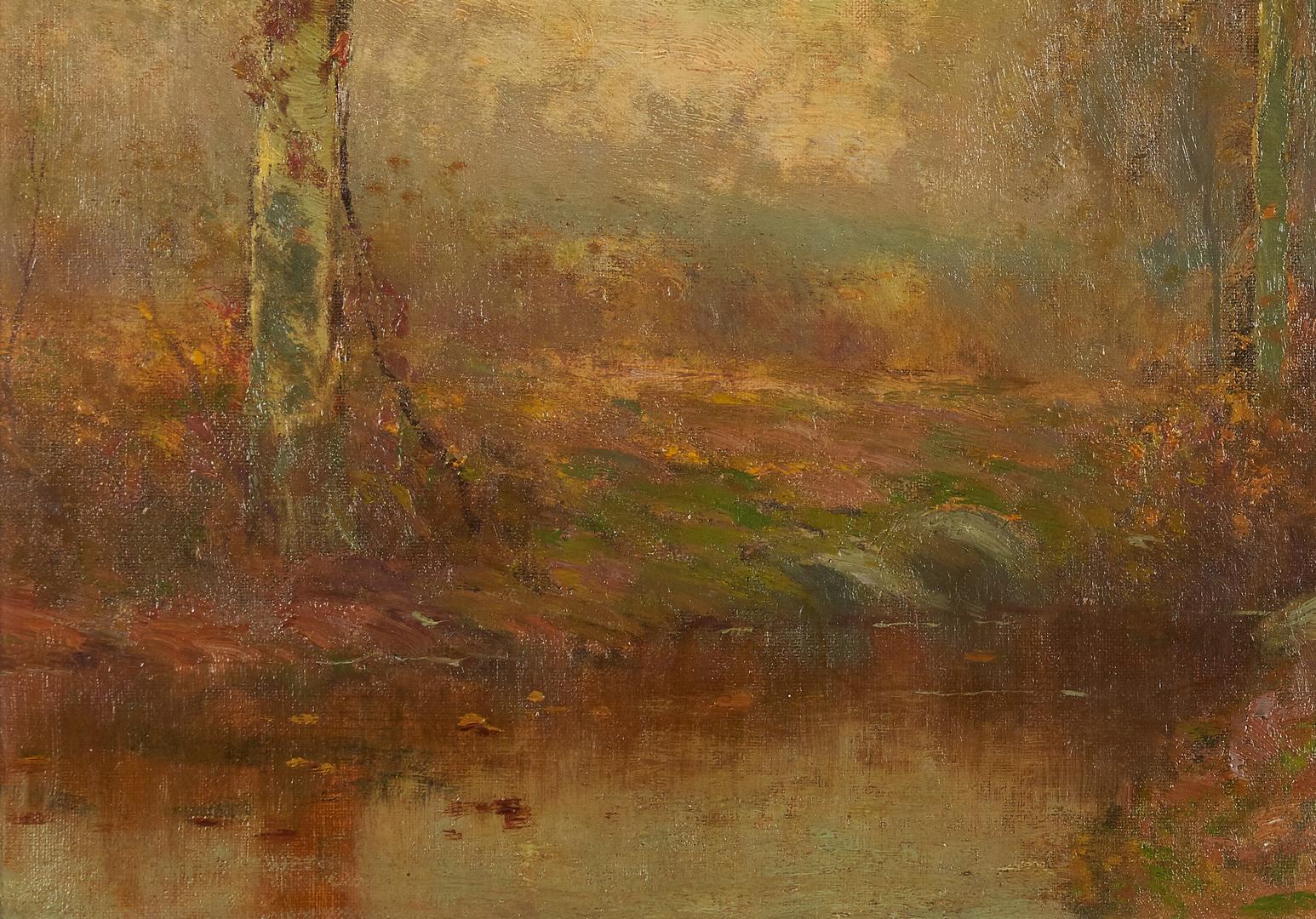 Lot 102: Bruce Crane O/C Landscape, Stream w/ Beech Trees
