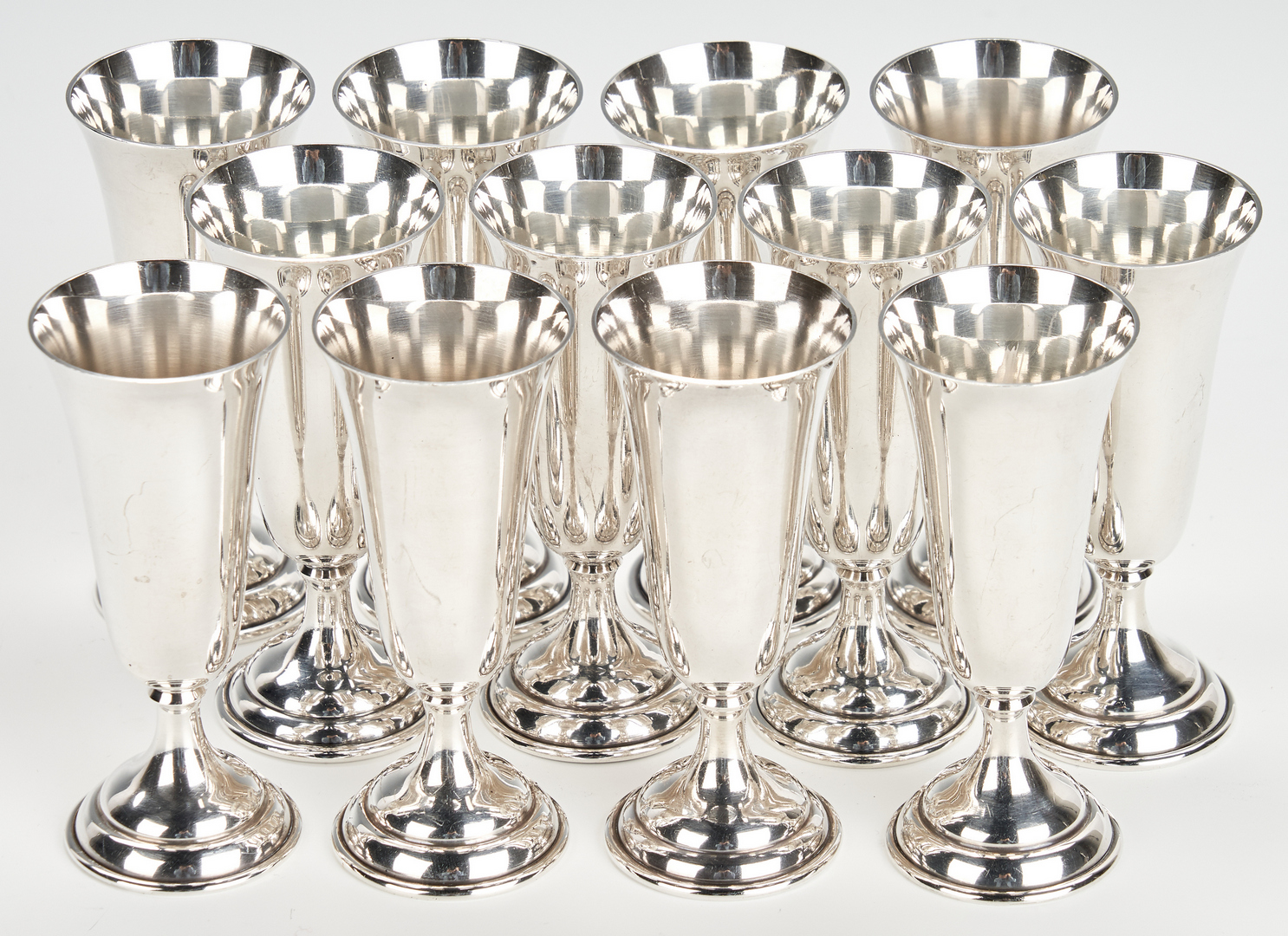 Lot 1030: 26 Sterling Champagnes, Cordials, Shot Glasses