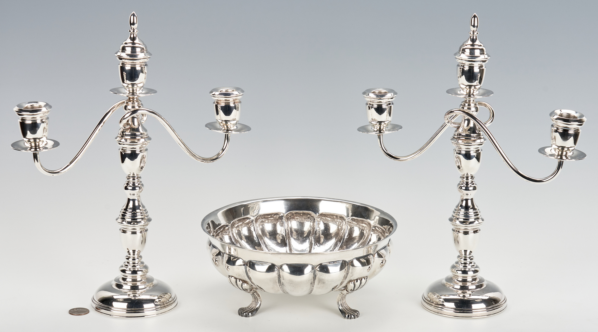 Lot 1034: Sanborn Footed Bowl plus Candelabra