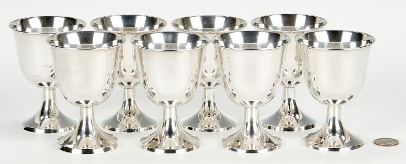 Lot 1036: 8 Towle Small Sterling Silver Wine Goblets