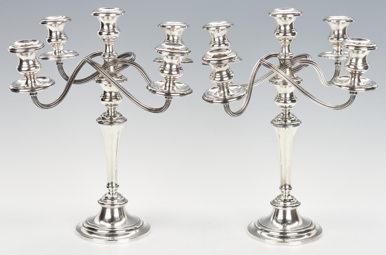 Lot 1039: Pair of Gorham 5-Arm Sterling Silver Candelabras