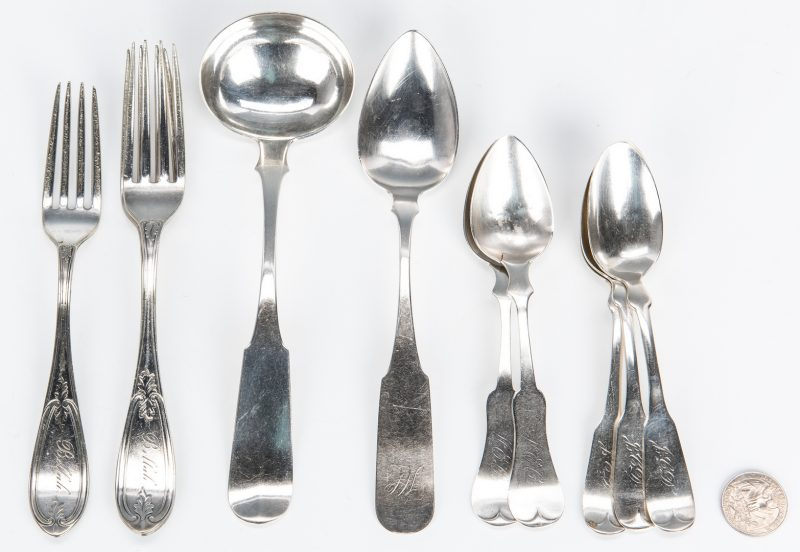Lot 1044: 10 pcs. Assorted Coin & Sterling Silver Flatware