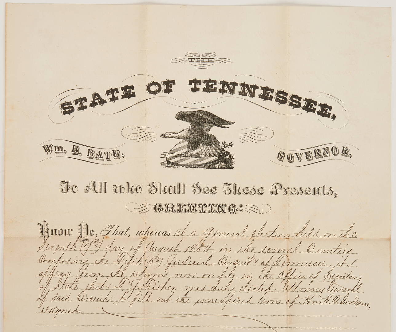 Lot 1047: 2 Tn Gov Signed Documents + Steamboat Print