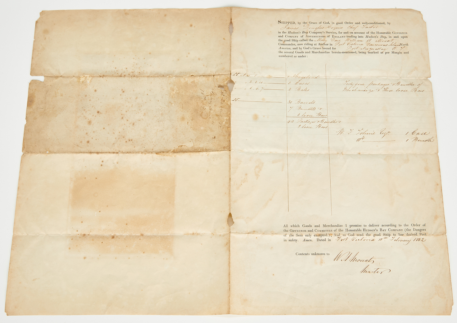Lot 1049: 1852 Mary Dare Shipping Manifest