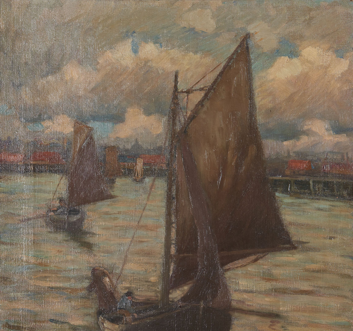 Lot 1053: European School O/C Maritime Painting