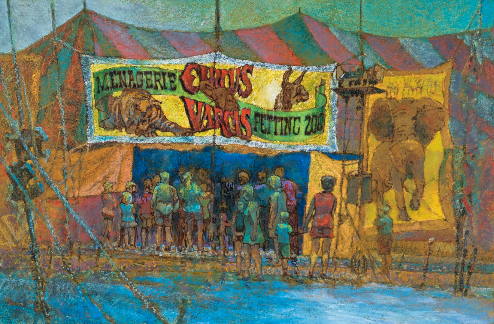 """Lot 1056: John Poti O/B Circus Painting, """"After the Rain"""""""