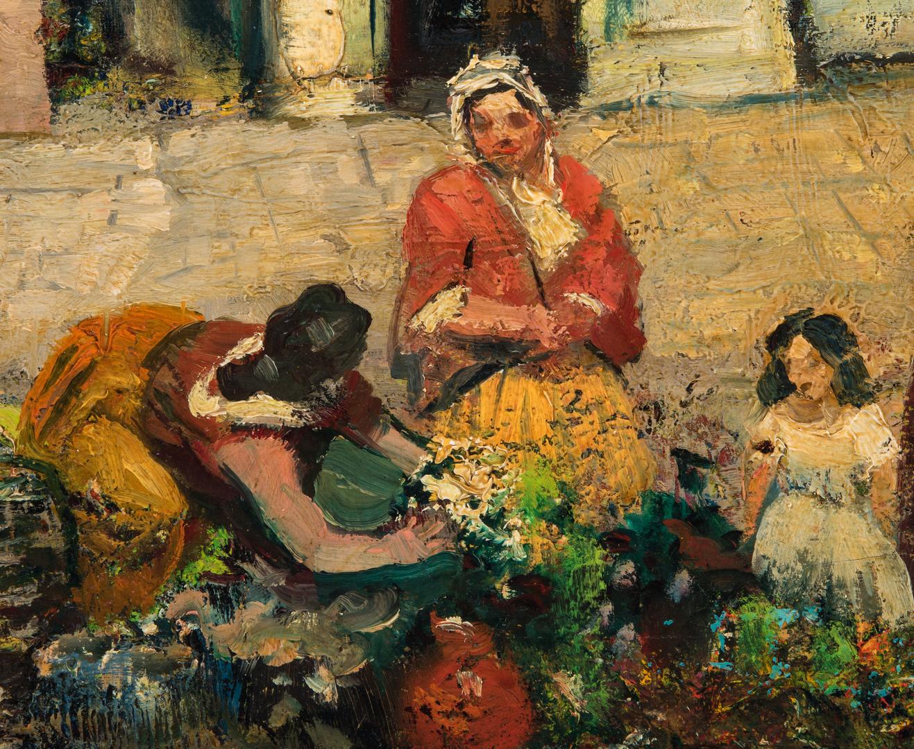 Lot 1058: Dahli Sterne, O/C, Spanish Market Scene