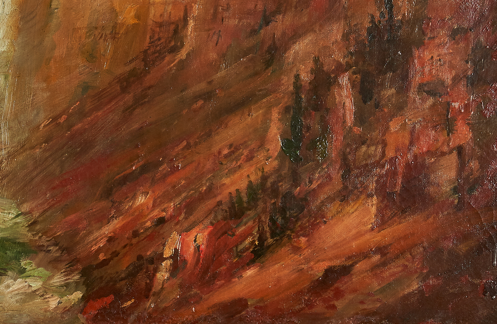 Lot 105: Lucien Powell O/C Landscape, Yellowstone Park Waterfall