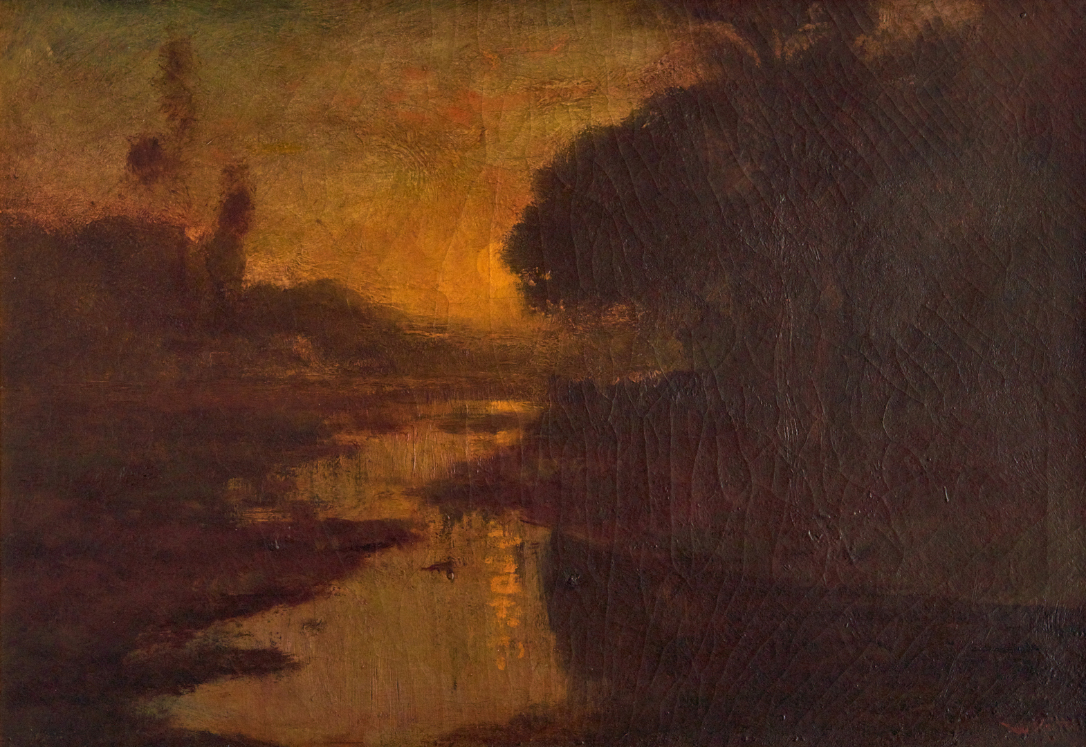 Lot 106: William Keith O/C, River Landscape at Sunset