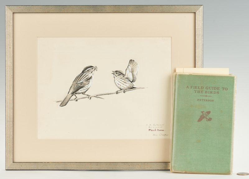 Lot 112: Roger Tory Peterson Bird Painting & Book