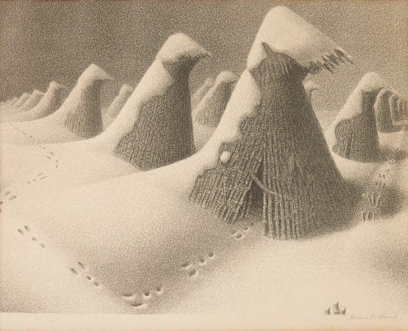 "Lot 113: Grant Wood Signed Lithograph, ""January"""