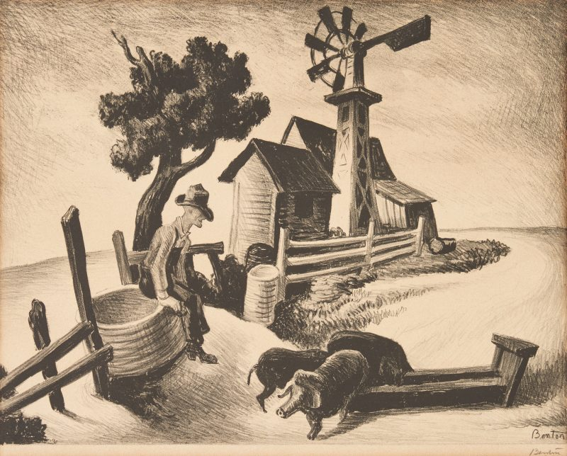 Lot 114: Thomas Hart Benton Signed Lithograph, In The Ozarks