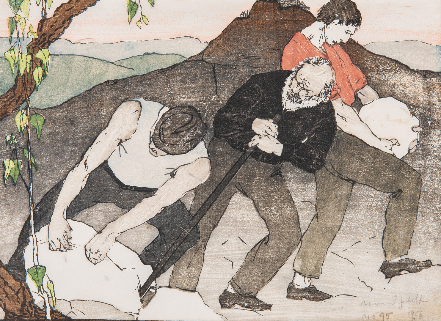 Lot 115: Bror Julius Olsson Nordfeldt Woodcut, The Quarry