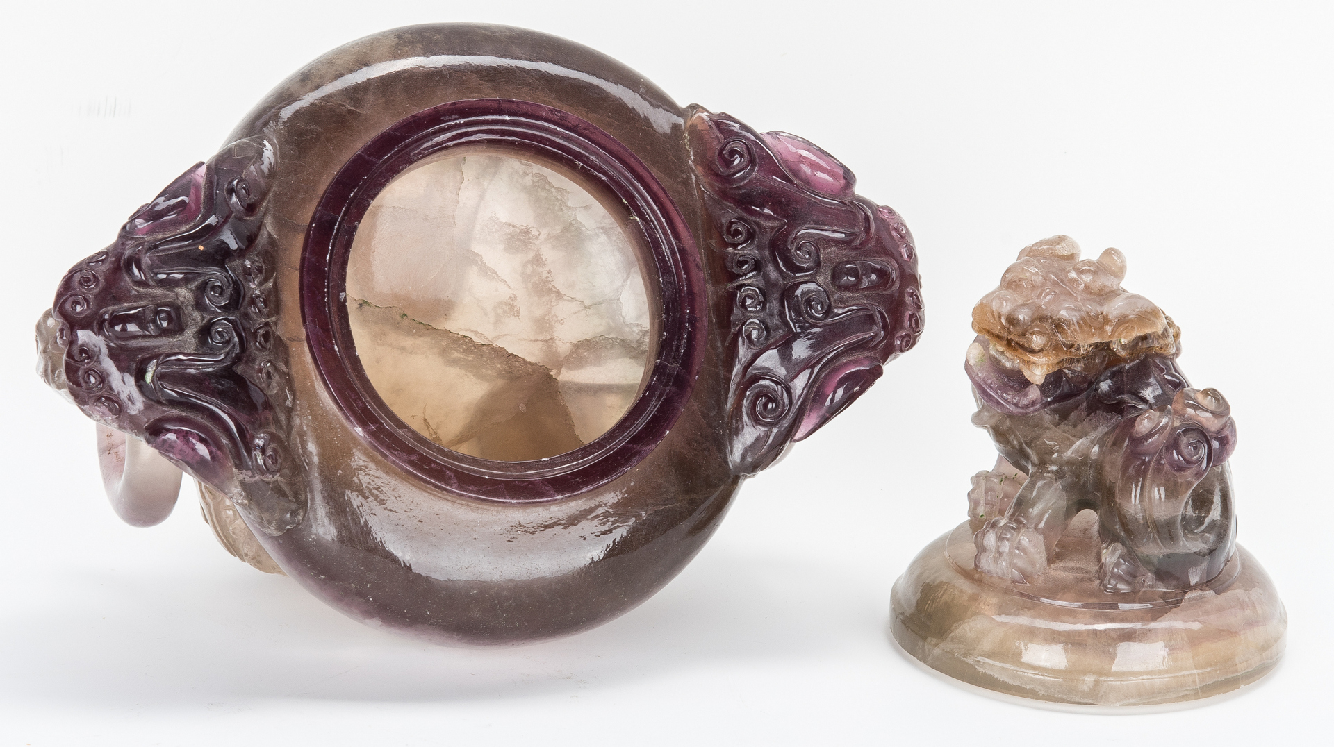 Lot 11: Carved Chinese Agate Censer w/ Foo Dog Finial