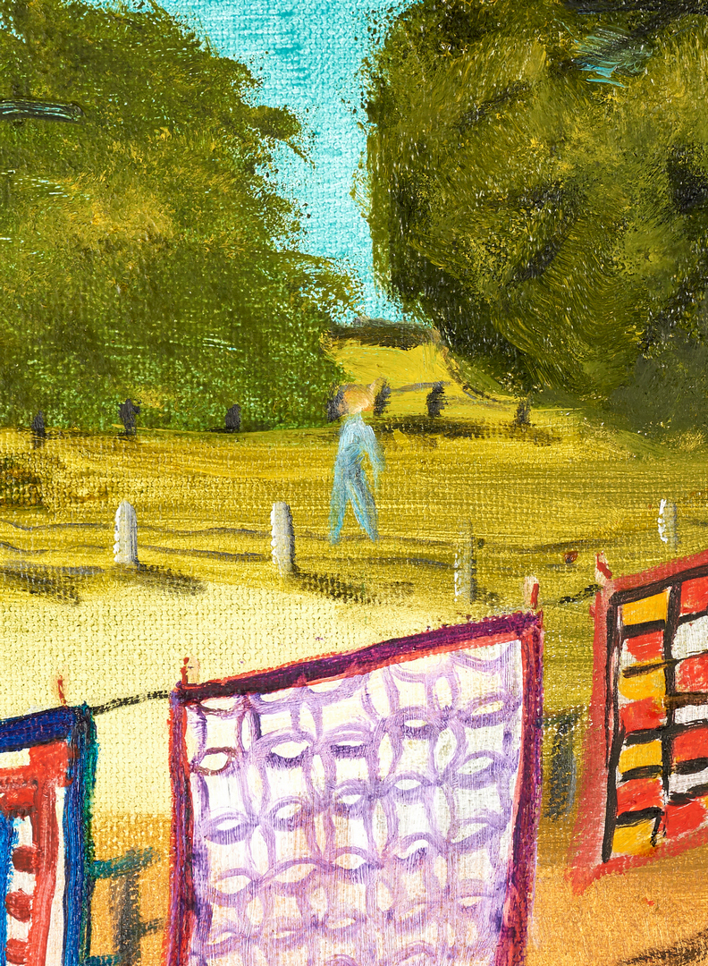 Lot 120: Helen LaFrance Painting, Quilts on a Line