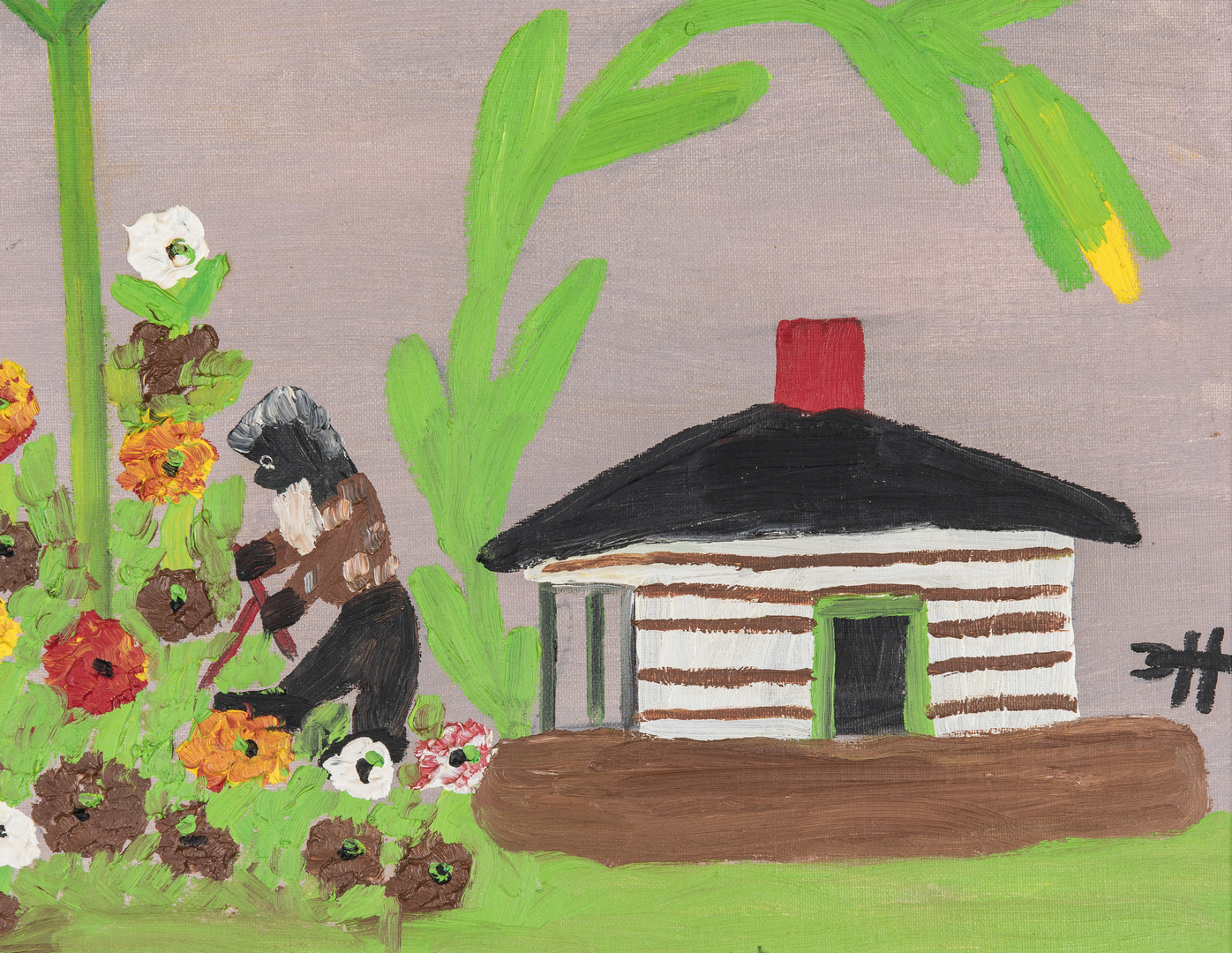 Lot 121: Clementine Hunter O/B, Picking Flowers or Uncle Tom's Cabin