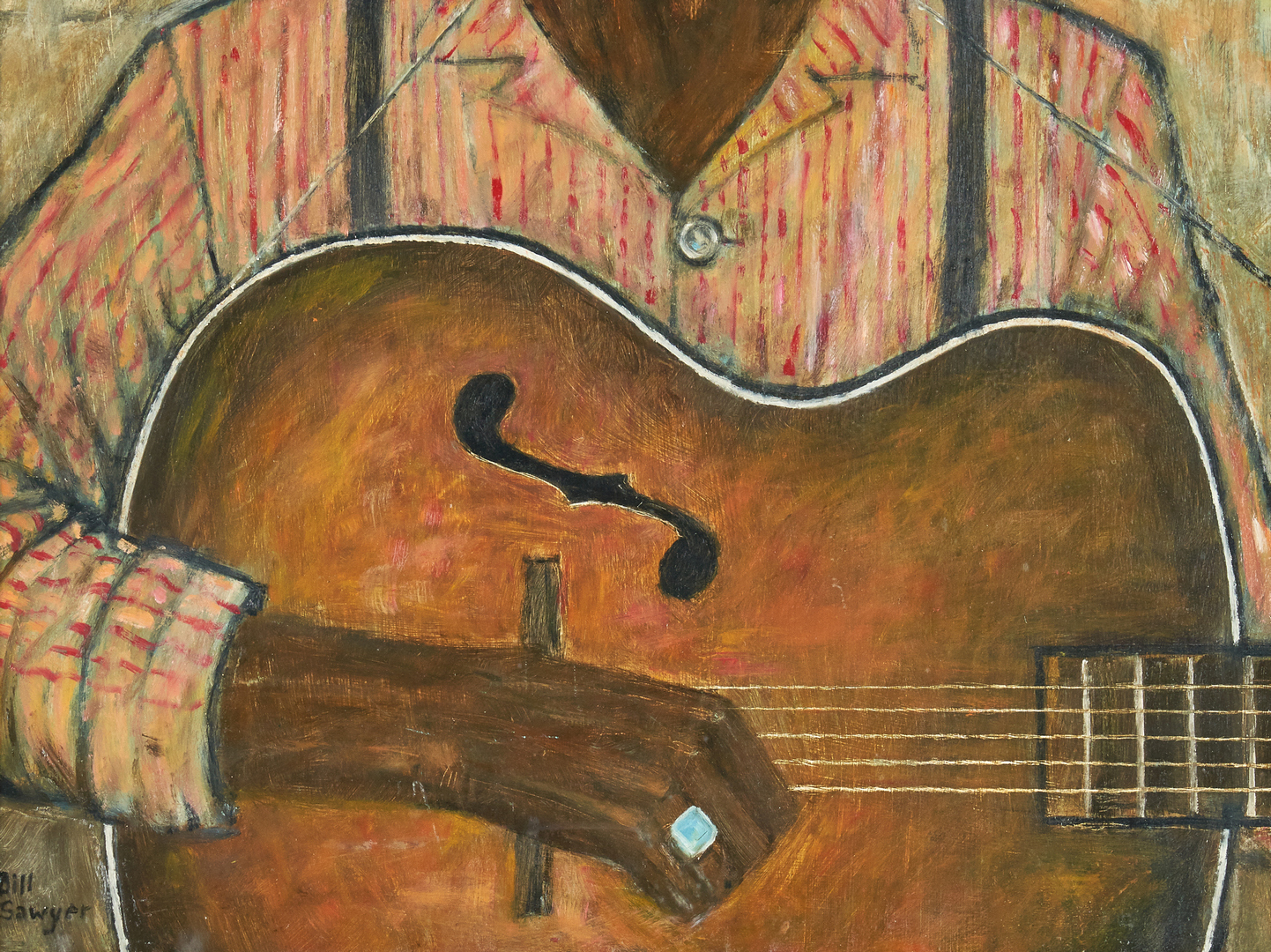 Lot 125: Bill Sawyer Portrait of Black Man with Guitar