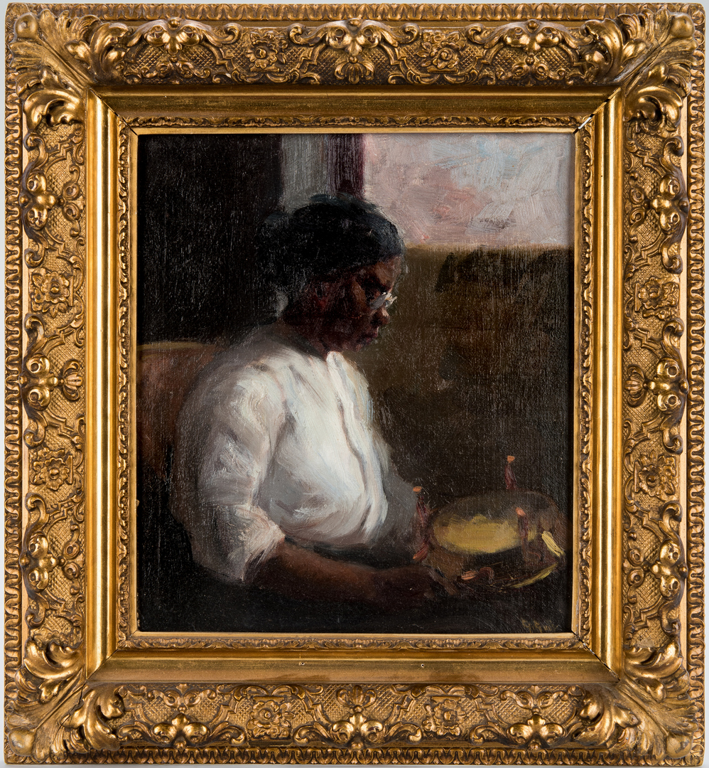 Lot 128: Gilbert Gaul Oil on Board, Woman Sewing