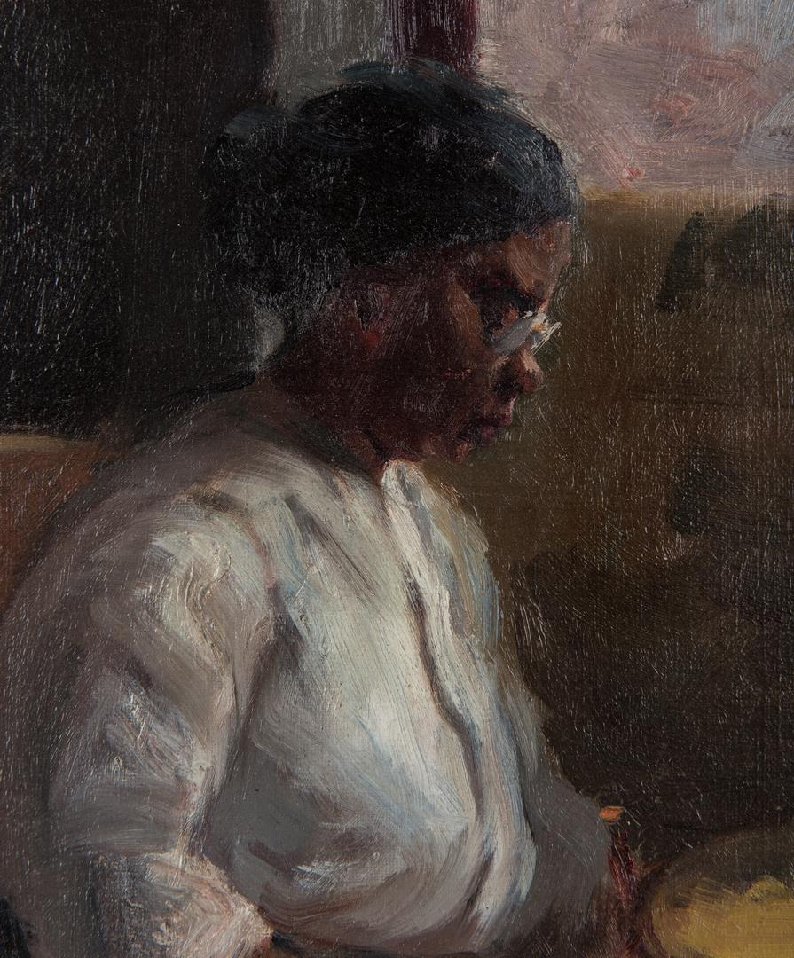 Lot 128: Gilbert Gaul Oil on Board, Woman Sewing