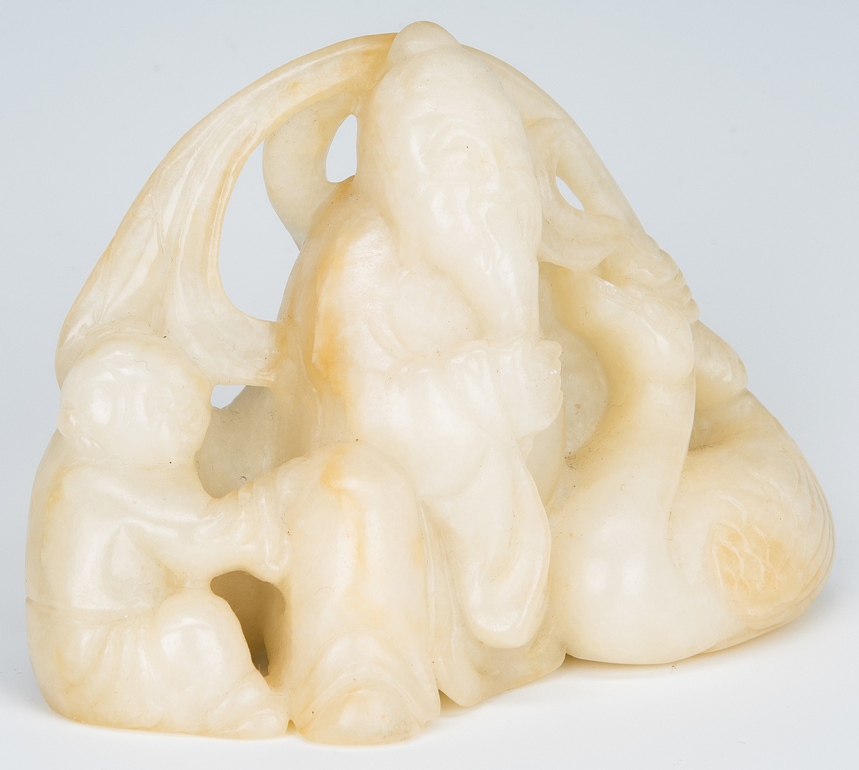 Lot 12: Chinese White Jade Scholar's Rock, Immortal w/ Duck