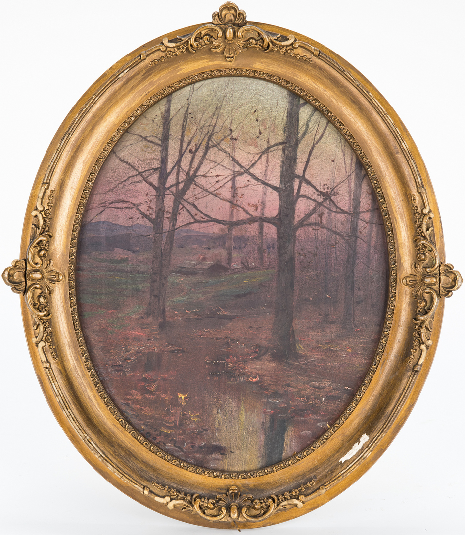 Lot 132: Lloyd Branson Oil on Cardstock Landscape Painting