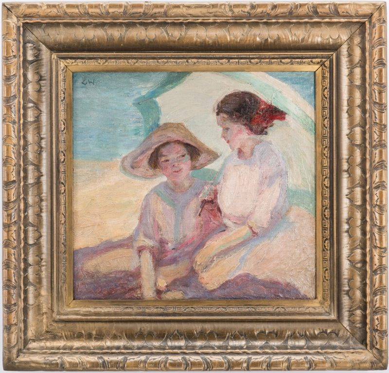 Lot 133: Catherine Wiley Oil on Canvas Beach Scene