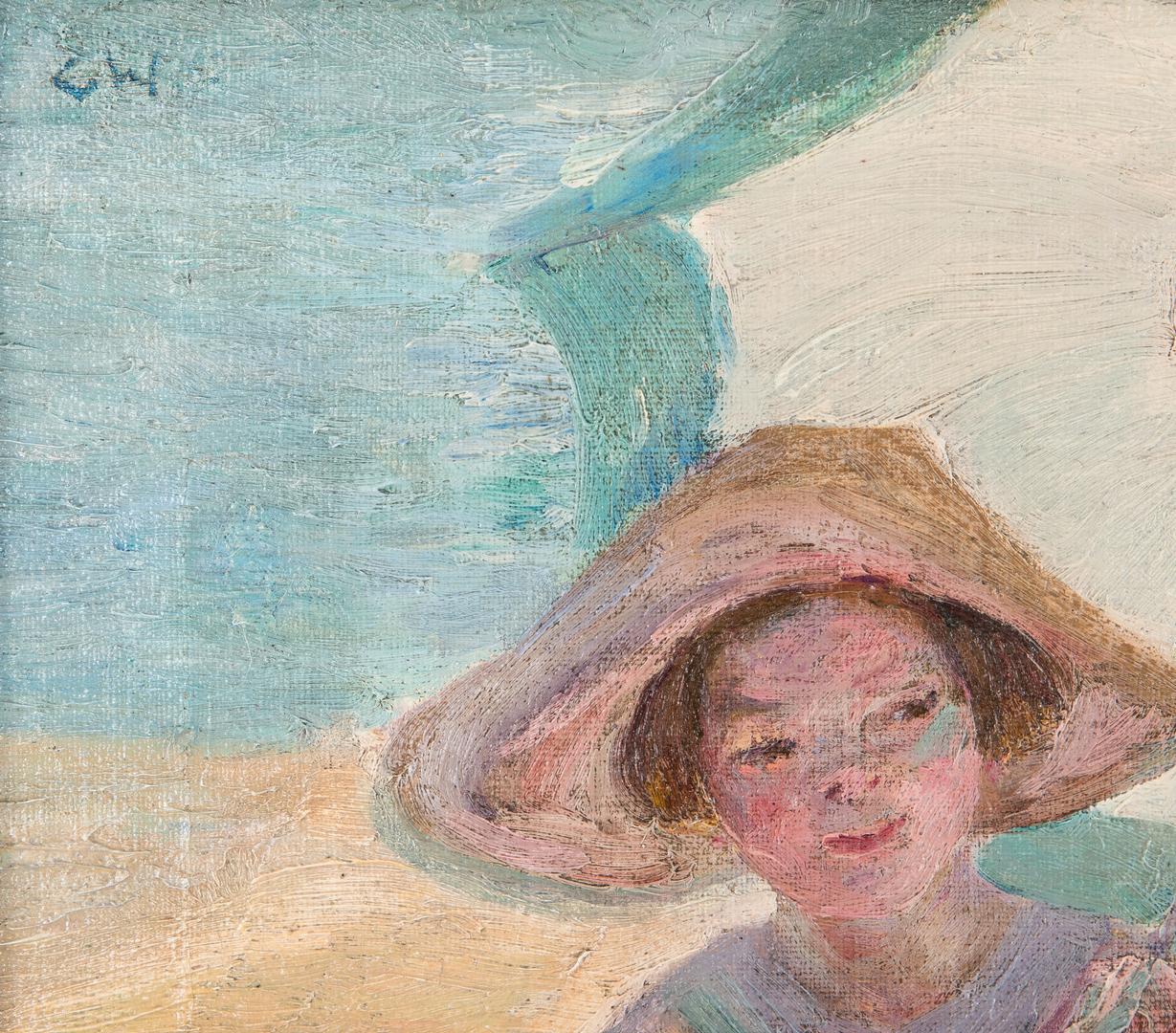 Lot 133: Catherine Wiley Oil on Canvas Beach Scene