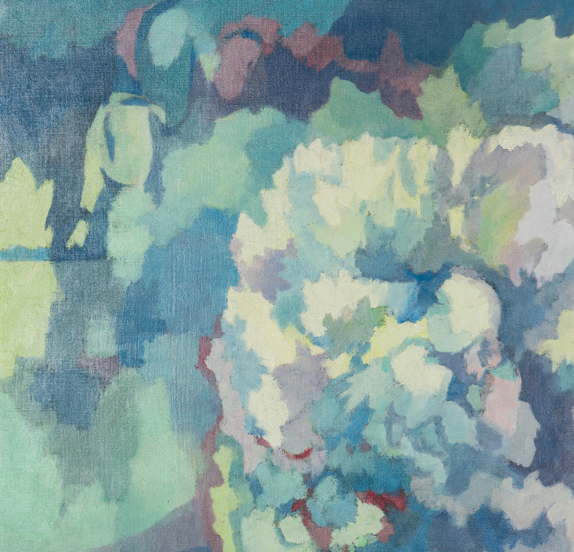 Lot 137: George Cress O/C Abstract Still Life, Peonies
