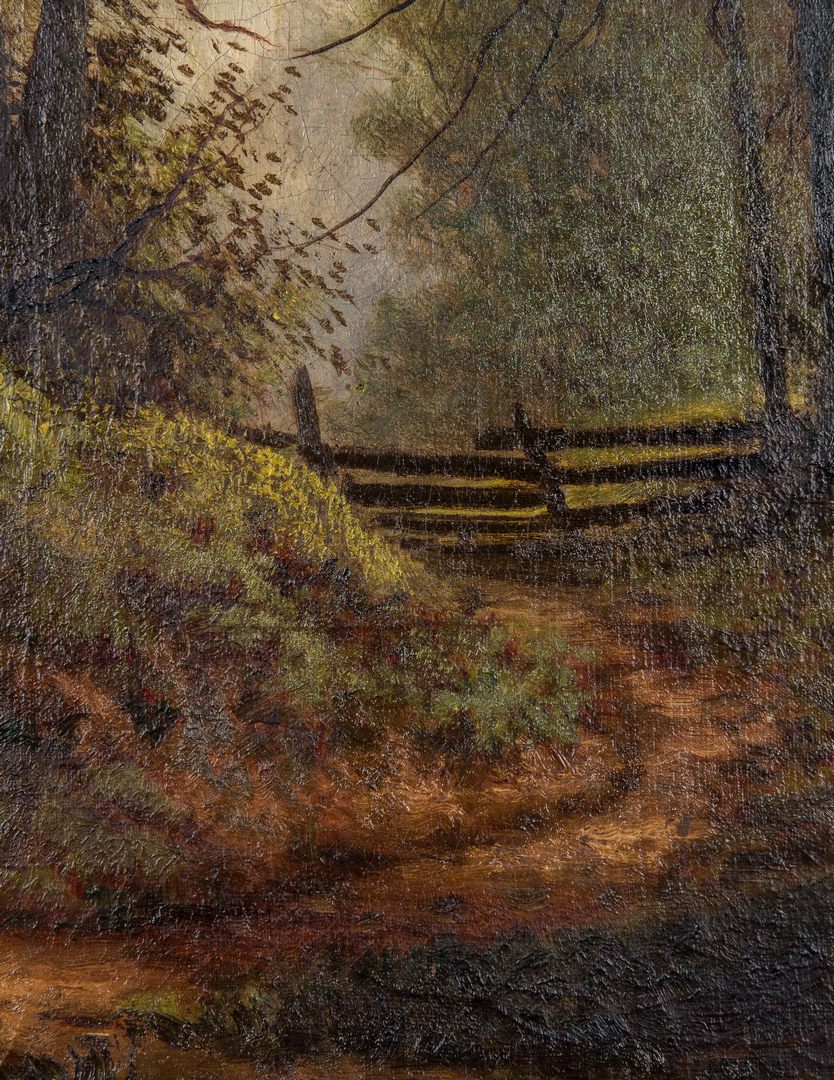 Lot 144: William M. Snyder O/C Forest Scene with Fence, Vertical