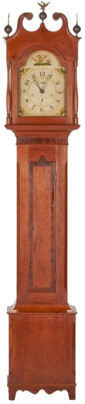 Lot 146: Luman Watson tall clock, case attr. Elijah Warner, KY