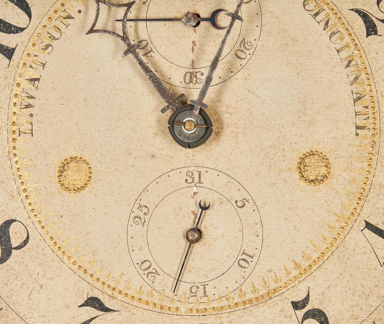 Lot 146: Luman Watson tall clock, case attr. Elijah Warner, KY