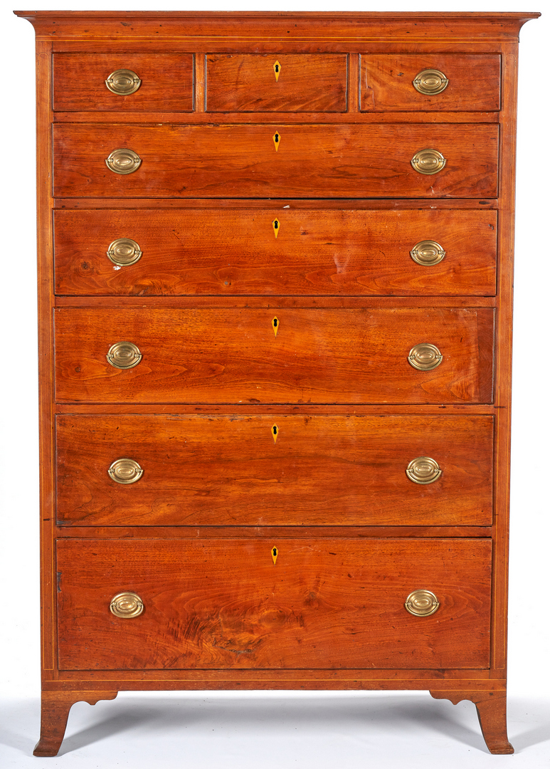 Lot 149: Inlaid Tall Chest of Drawers, poss. Southern