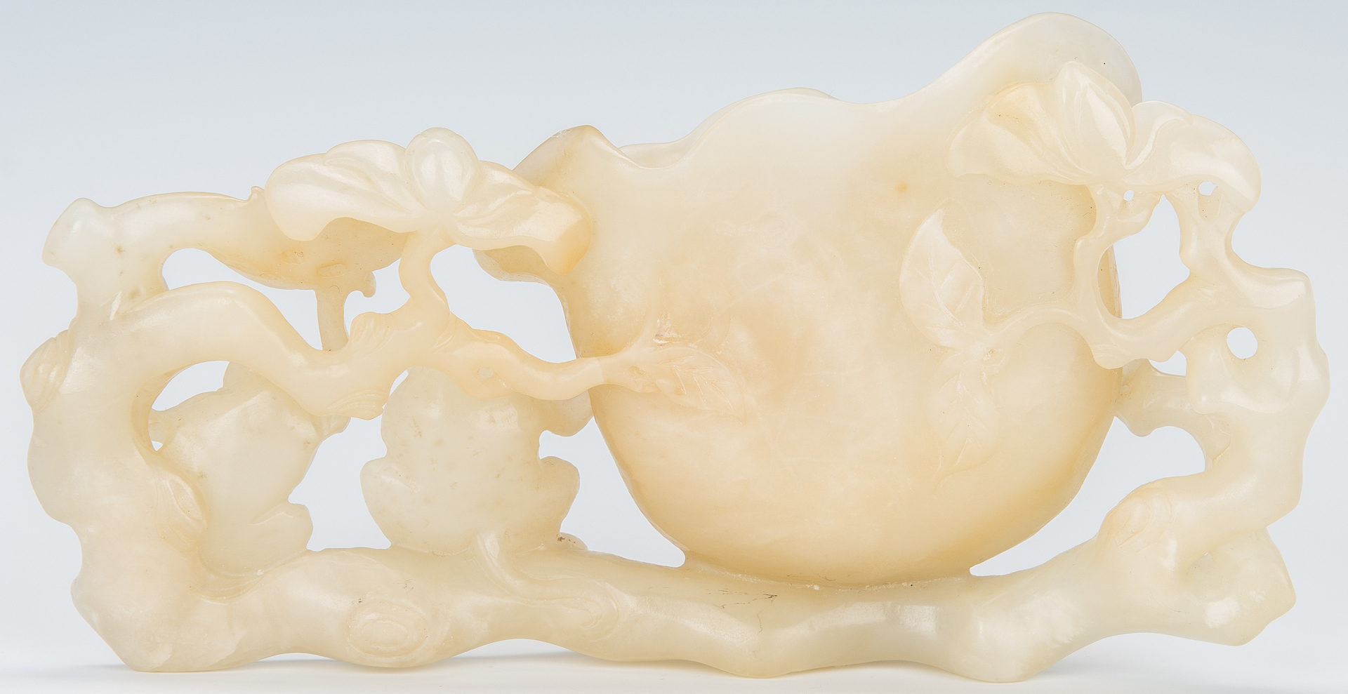 Lot 14: Chinese White Jade Brush Pot w/ 2 Monkeys