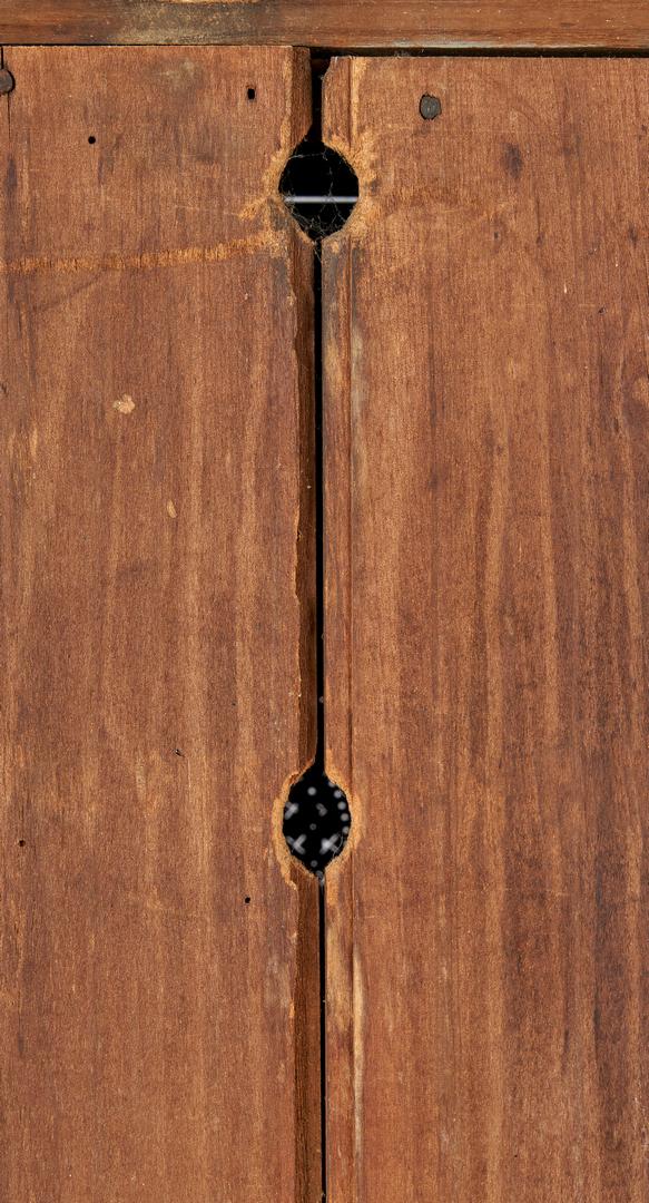 Lot 161: East TN Cherry Pie Safe, Urn & Starburst Tins, Trifid Feet