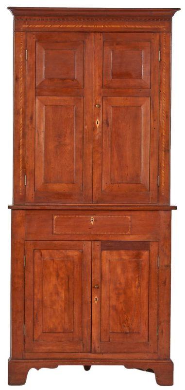 Lot 166: TN Cherry Inlaid Corner Cupboard