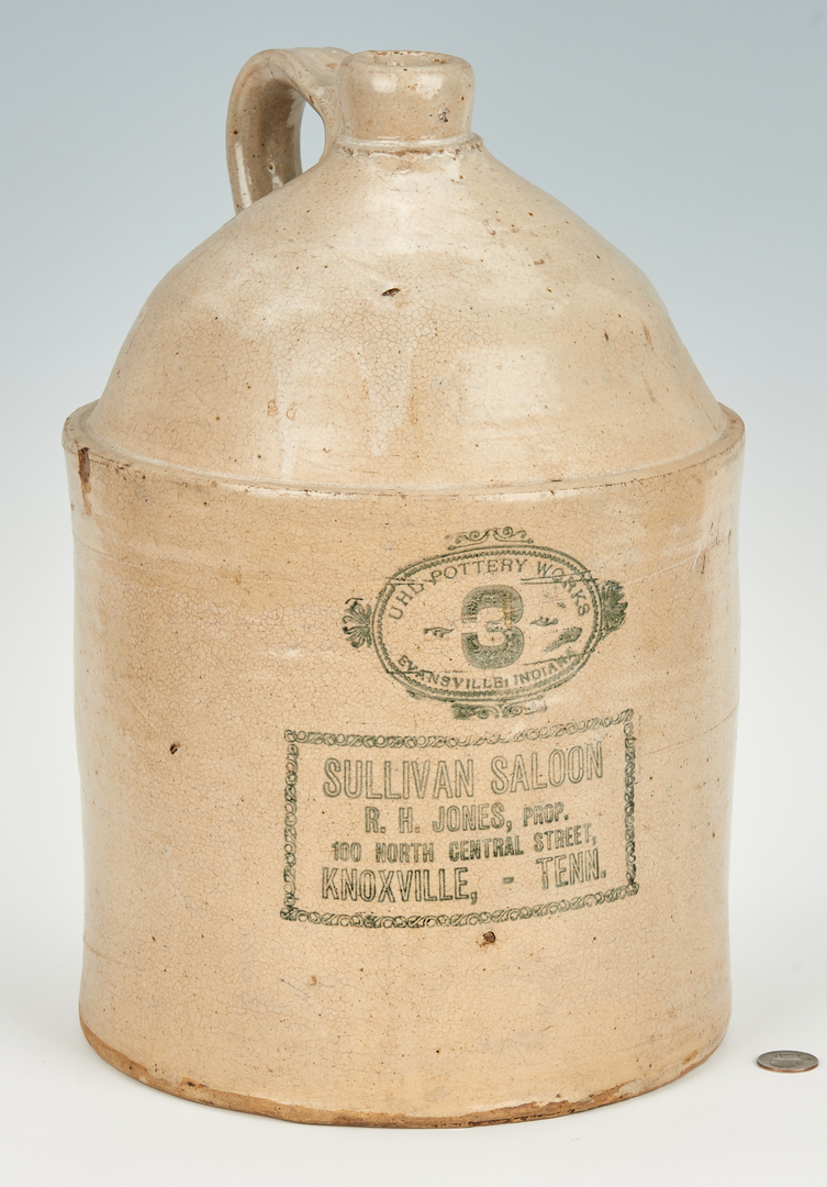 Lot 168: Sullivan Saloon Knoxville, 3-Gallon TN Whiskey Jug