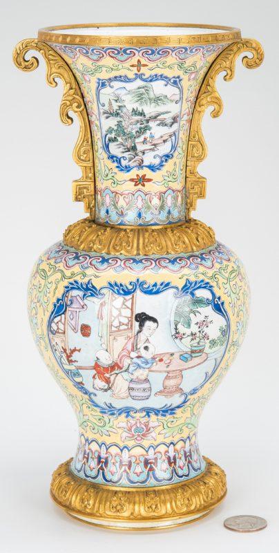 Lot 16: Canton Enamel Vase with Gilt Mounts